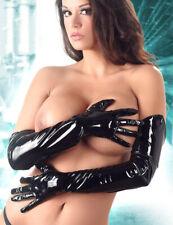 "Lack Handschuhe extra lang schwarz vinyl gloves S M L ""Smoothy"""