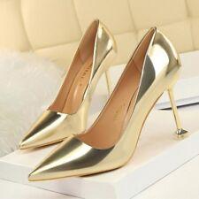 zapatos de salón mujer oro élégant tacón aguja 9.5 cm perno como piel 8326