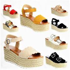 Emma Espadrille Platform Wedge Flatform Open Toe Sandal