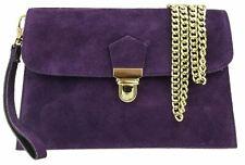 Envelope Italian Genuine Suede Clutch Bag Double Front Push Lock Wrist Evening