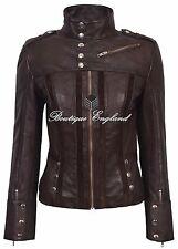 Ladies Brown Leather Jacket Biker Style Slim Fit 100% REAL Lambskin 4520