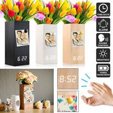 New Modern Digital Wooden Wood Alarm Clock LED Desk Clock with Flower Plant Vase