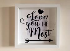 IKEA RIBBA Box Frame Personalised Vinyl Wall Art Quote Hugs Kisses Valentines