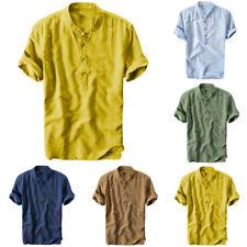 Men Cotton Linen Short Sleeve T-Shirt Breathable Dyed Gradient Blouse Top