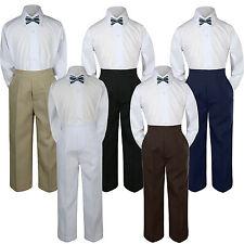 3pc Boy Suit Set Dark Gray Bow Tie Baby Toddler Kids Uniform Shirt Pants S-7