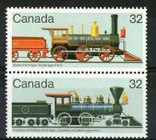 CANADA 1984 32c PAIR STEAM LOCOMOTIVES COMMEMORATIVE STAMPS MNH