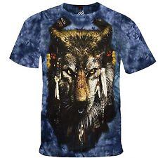 Mystic Native American Wolf In Tribal Head Dress Mononoke Tshirt Tee Shirt RM07T