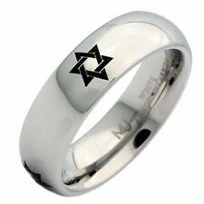 6mm White Tungsten Carbide Star of David Polished  Wedding Ring