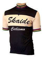 Radtrikot Skaide Ciclismo Retro schwarz/creme kurzarm (auch Übergrößen bis 6XL)