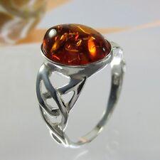 A423 Keltisch Celtic Triquetra Bernstein Ring 925 Silber Schmuck versch.Größen