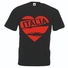 T-shirt maglia cotone donna uomo nera scritta italia cuore rosso