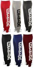 Ladies Geek Print Trousers Tracksuit Bottoms Jogging Pants Women's Joggers 8-14