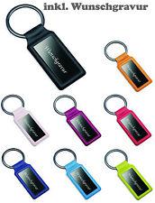 Schlüsselanhänger aus Metall / Kunstleder  inkl. Gravur /  graviert viele Farben