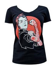 We Can Do It Tattooed Rosie Riveter - Women's Black Tee Black Market Custom Art