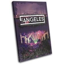 Los Angeles LA Typography DJ Club SINGLE CANVAS WALL ART Picture Print