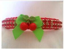 Pet Collar Rhinestone Cherry Small dog collar cat collar Custom Sizes