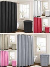 Large Plain Bathroom Shower Curtains 180x180cm 12 FREE Hooks Laundry Basket