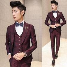 New Men's Premium Jacquard Slim Fit Prom Tuxedo Wedding Suit Jacket Vest Pants #
