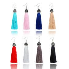 Fashion Women Crystal Rhinestone Long Tassel Fringe Dangle Ear Stud Earrings