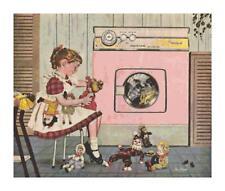 Retro Girl in Laundry Room w/ Toys Cross-Stitch Pattern
