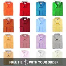 Berlioni Italy Men's Convertible Cuff Solid Dress Shirts