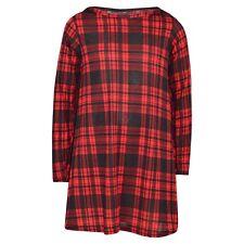 Bambine Rosso Motivo Scozzese Vestitino Stile Anni '50 Moda Trendy Maglia