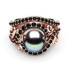 Fashion Women Wedding Ring Round Cut Black Pearl Rose Gold Filled Size 6-10