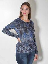 Samt Shirt von Simclan Gr. 36 38 40 42 44 elast. Jersey blau grau Paisleys neu