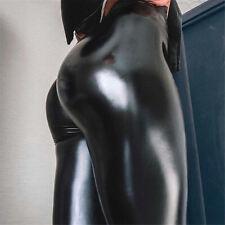 Women Ladies PU Leather Wet Look Shiny Disco Elastic High Waist Leggings Pants