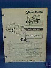 "Simplicity 442 28"" Rotary Mower Parts Manual"
