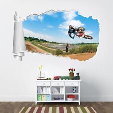 Motocross Bike Motorcycle 3D Torn Hole Ripped Wall Sticker Decal Art Mural WT428