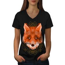Wellcoda Polygonal Fire Fox Womens V-Neck T-shirt, Animal Graphic Design Tee