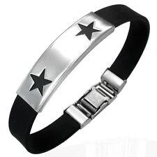 Personalised Stainless Steel Star Design Adjustable Identity Bracelet, Engraved