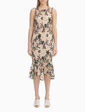 Calvin Klein NWT Elegant Cocktail BEIGE Floral Embroidery Sheath Dress size 16