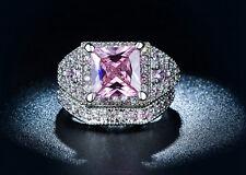 3ct CZ Ring Set Cubic Zirconia White Pink Engagement Promise Wedding Ring 7 8 9