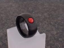 Edelstahl Band Finger Ring schwarz matt Damen Perle Kugel Korallen rot Edelstein
