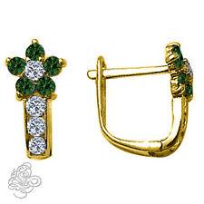 Birthstone Gemstone Flower Huggie Earrings 14k Solid Yellow Gold 12 Moths Color