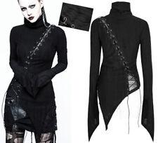 Top haut asymétrique gothique punk lolita burlesque laçage rayures mode PunkRave