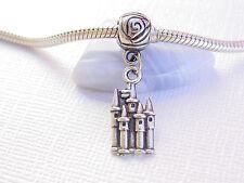 Silver Tone Prince Princess Castle Palace Slide Euro Dangle Charm fit Bracelet