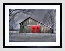 WINTER BARN RED DOOR BLACK FRAME FRAMED ART PRINT PICTURE MOUNT B12X9468