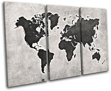 World Atlas Grunge Vintage Maps Flags Treble Canvas Wall Art Picture Print
