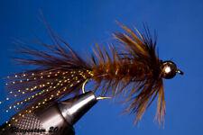 Fliegentom Streamer 3 piéces Wolley Bugger avec perle sur la tête brun