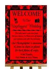 Red Black Damask No Phone Camera Unplugged Personalised Wedding Sign