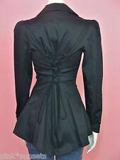 Betsey Johnson Black Lace up Corset Style Peplum Jacket