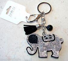 Elefante Portachiavi Portafortuna,ciondolo Borsa,strass da donna nero