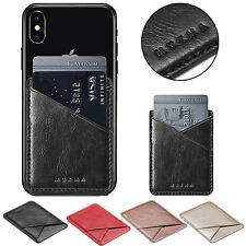 Mobile Phone Leather Credit Card Wallet Holder Pocket Stick-On Adhesive Elastic