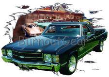 1971 Black Chevy El Camino a Custom Hot Rod Diner T-Shirt 71 Muscle Car Tees