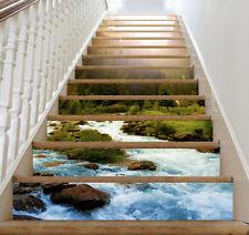 3D Mountains, river Stair Risers Decoration Photo Mural Vinyl Decal Wallpaper AU
