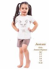 Girl's Kids Toddlers Summer Pyjamas fun cat print  93% Cotton Pjs 1 to 10 Years