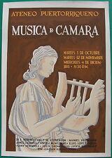 Garcia Gomez Musica De Camara 1960s Cartel Poster Serigraph Ateneo Puerto Rico